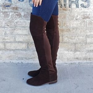 Suede Over The Knee Low Heel Thigh High Boots